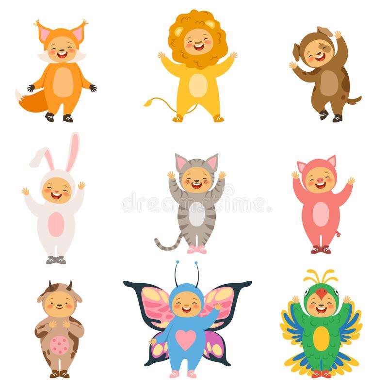 Carnival kids clothes. Costumes of funny cartoon animals stock illustration