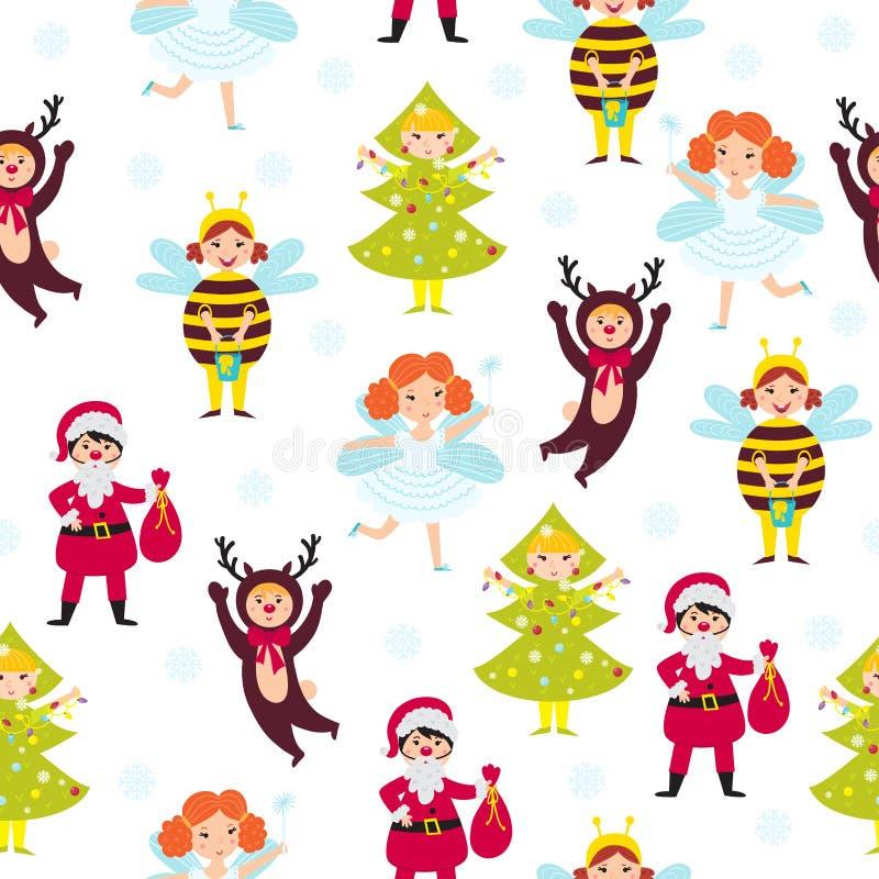 Carnival kids seamless pattern vector. Anniversary decorative fun children wallpaper. Decorated new year happy character background. Retro costume snowflake stock illustration