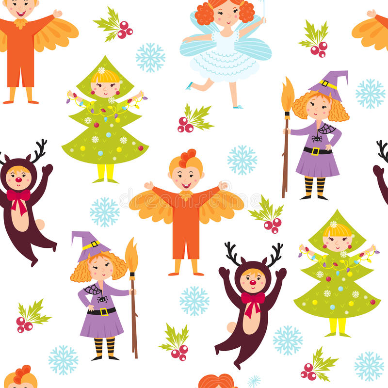 Carnival kids seamless pattern vector. Anniversary decorative fun children wallpaper. Decorated new year happy character background. Retro costume snowflake vector illustration