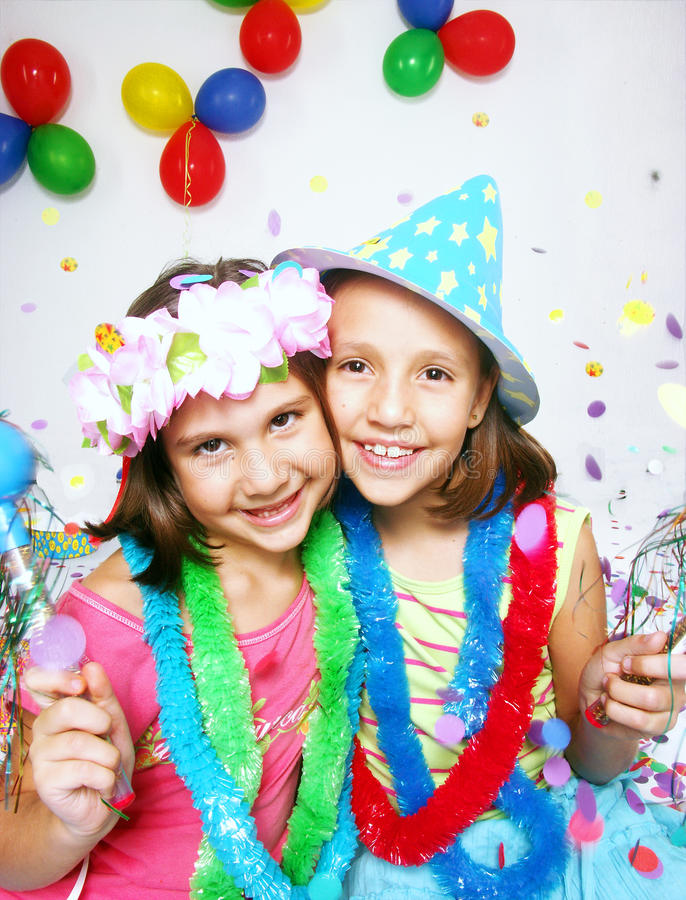 Carnival little girls royalty free stock image