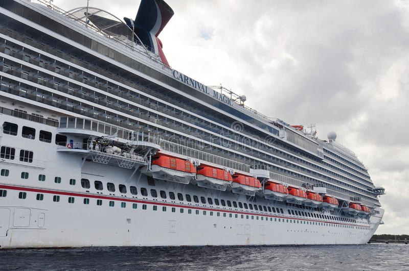 Carnival Magic. Cruis ship hull in Cozumel, Mexico royalty free stock photos
