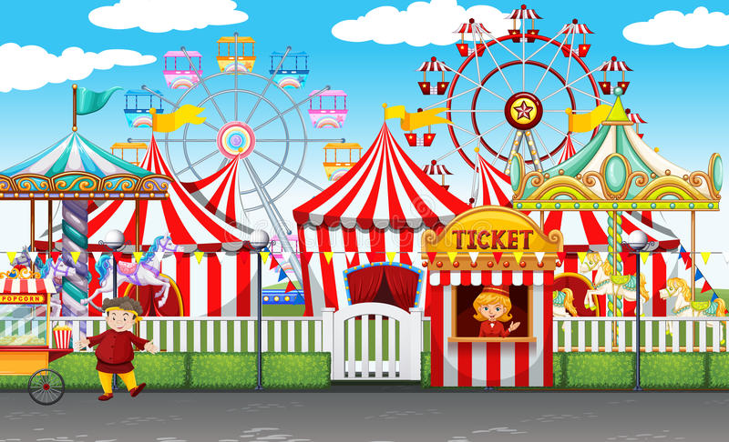 Carnival with many rides and shops stock illustration