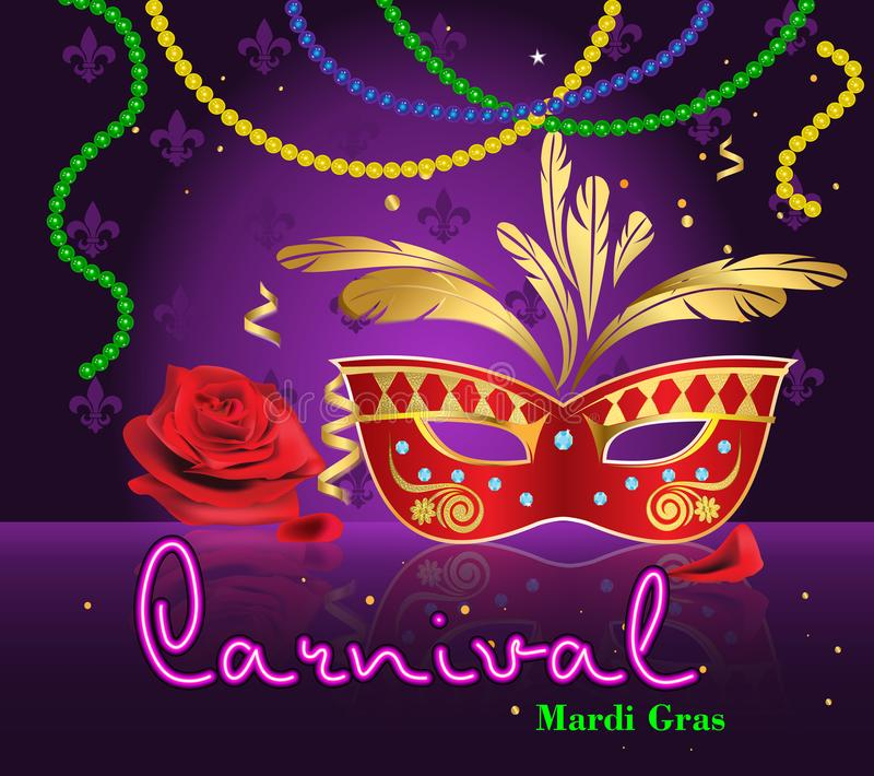 Carnival of Mardi Gras, New Orleans. royalty free illustration
