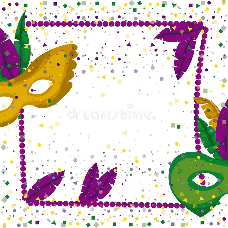Carnival mardi gras poster with purple necklace frame with feathers and mask green and yellow over colorful confetti royalty free illustration