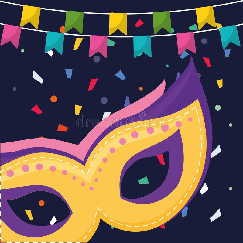 Carnival mask accessory with garlands hanging royalty free illustration