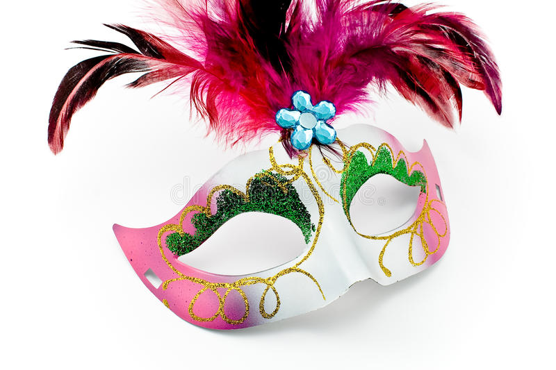 Carnival mask with feathers and diamon royalty free stock images
