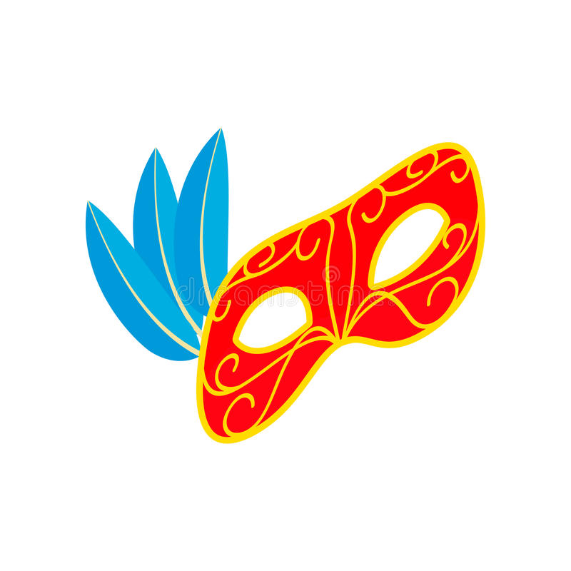 Carnival mask with feathers icon, isometric 3d vector illustration