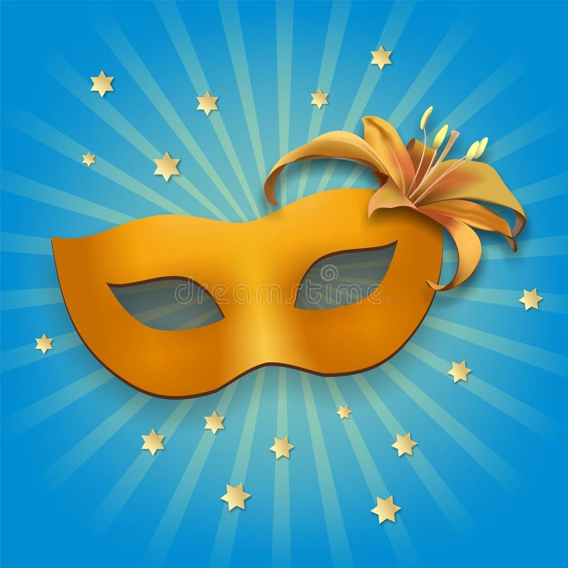 Carnival mask, with lily on the side royalty free stock photos