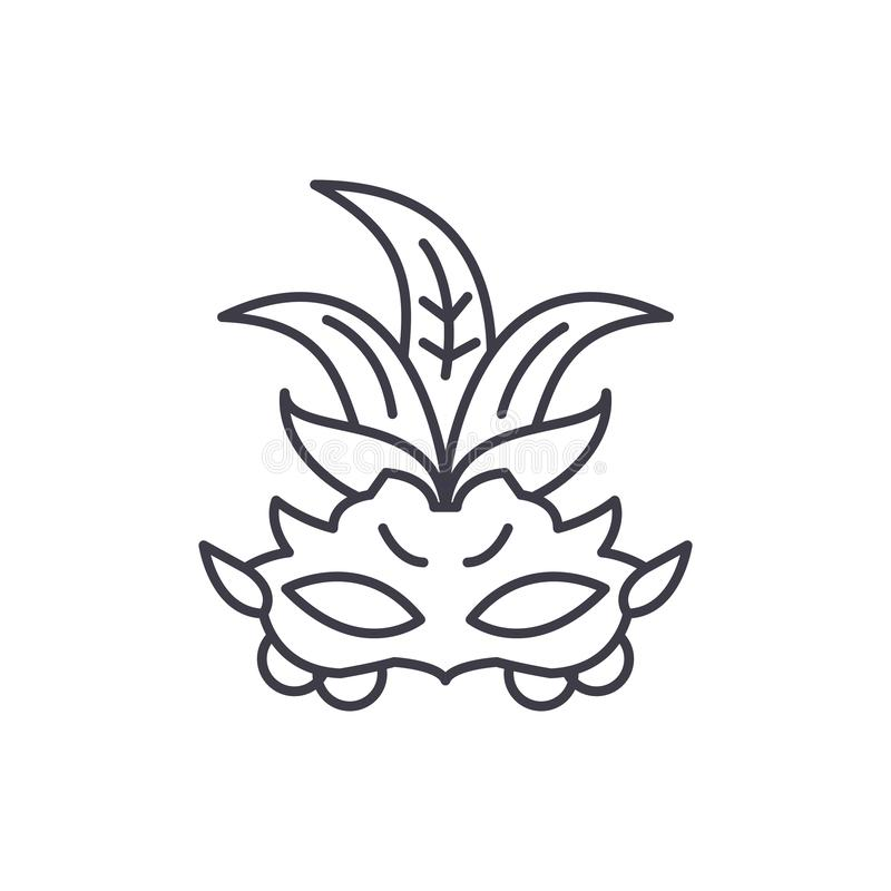 Carnival mask line icon concept. Carnival mask vector linear illustration, symbol, sign royalty free illustration