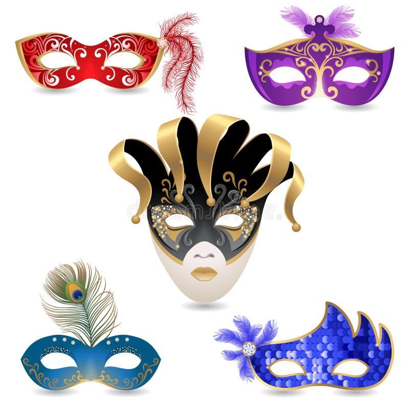 Carnival masks. 5 bright carnival masks icons stock illustration
