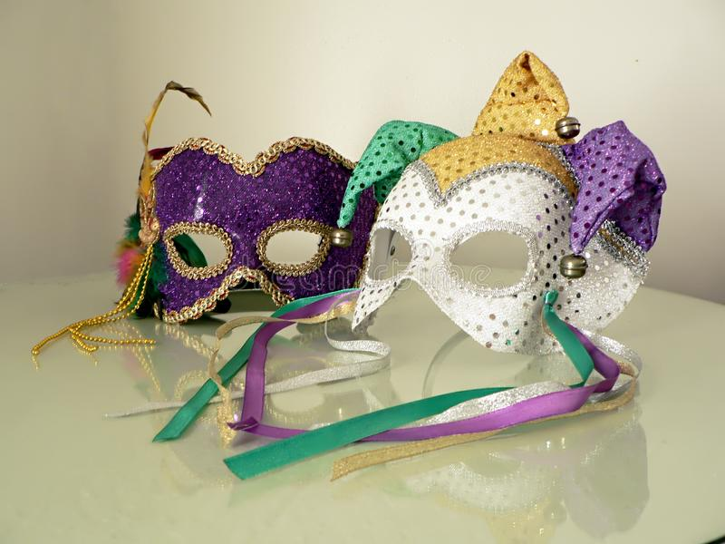 Carnival masks on glass 3 royalty free stock photography