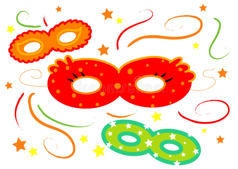 Carnival Masks Isolated Vector Royalty Free Stock Photo