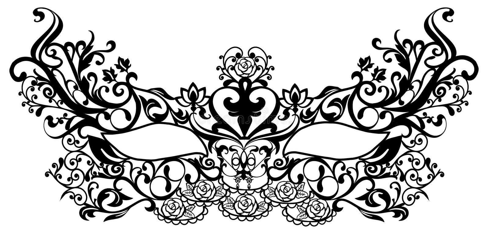 Carnival Masks-openwork lace-Cutout Lace royalty free illustration