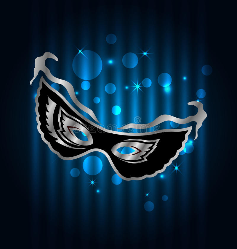Free Carnival Ornate Mask On Blue Glowing Background Royalty Free Stock Photos - 49537898