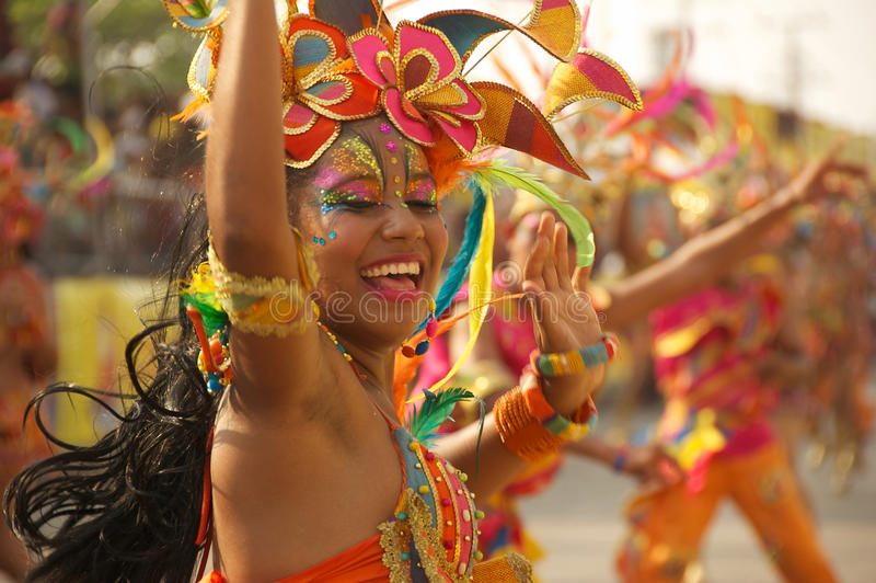 Carnival parade in Barranquilla, Colombia stock photo
