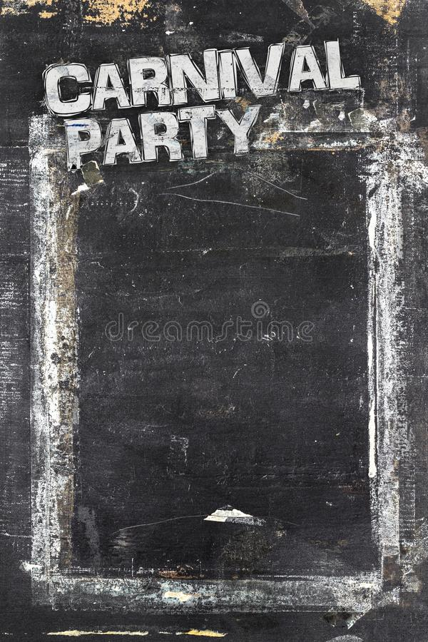 Carnival Party chalkboard background. Weathered and distressed template. Dirty artistic design element, box, frame for text. Doodle frame royalty free stock image
