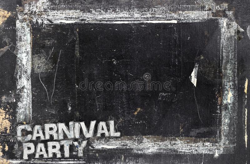 Carnival Party chalkboard background. Weathered and distressed template. Dirty artistic design element, box, frame for text. Doodle frame royalty free stock images