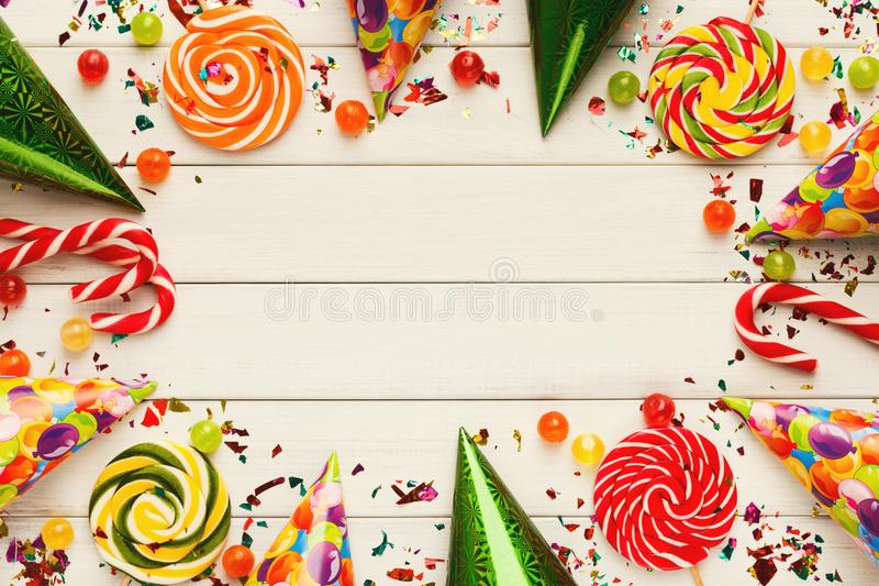 Colorful balloons on white rustic wood, birthday background, top stock images