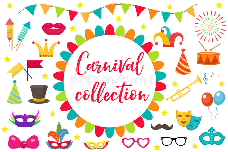 Carnival, party icon set design element. Masquerade, Photo booth in modern flat style. Isolated on white background stock illustration