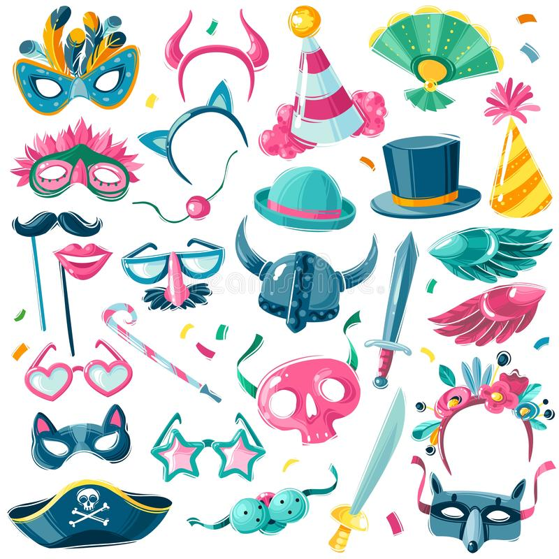 Carnival party inventory set. Large set of isolated carnival items on white background in illustrative cartoon style. Large set of isolated carnival items on royalty free illustration