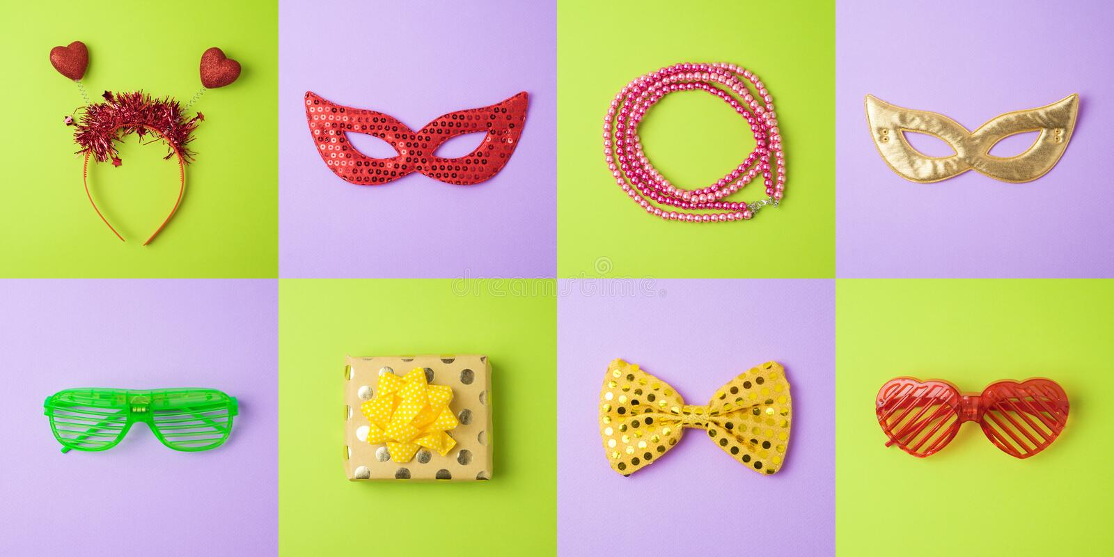 Carnival party minimal concept background with carnival mask and royalty free stock photos