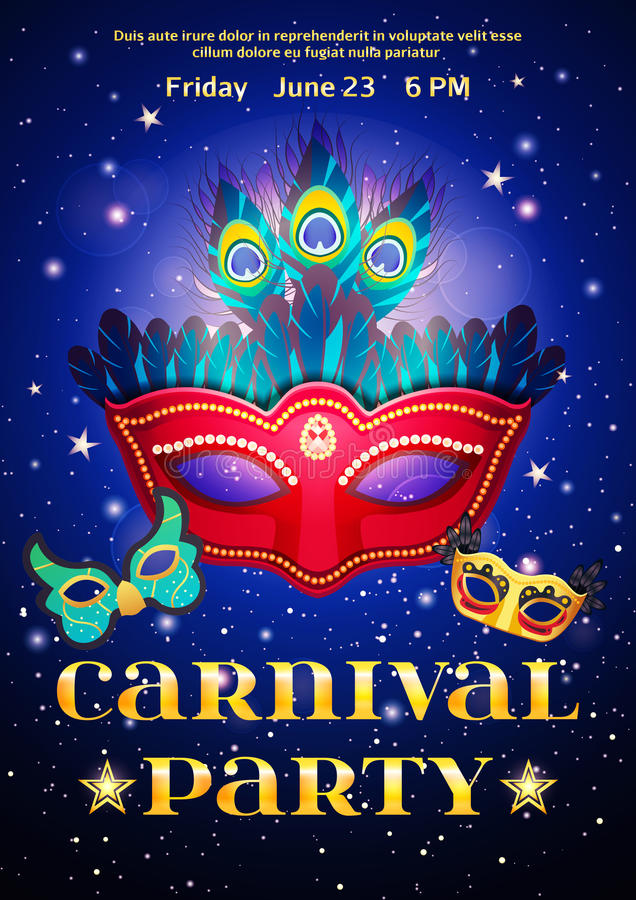 Carnival Party Poster With Date Of Event. And set of masquerade mask on night starry sky background flat vector illustration royalty free illustration