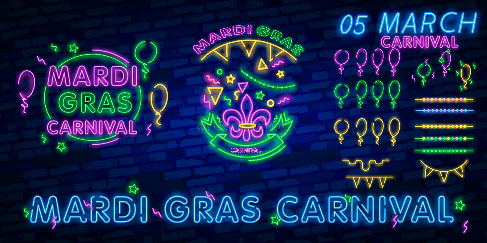 Carnival party is set of posters in neon style. neon signs, design template, brochure, glowing poster. Bright neon advertising of. Carnival party is set of royalty free stock photography