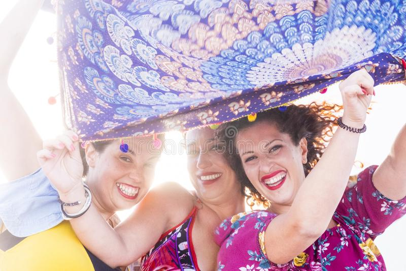 Carnival and party time for a group of female friends stock photography