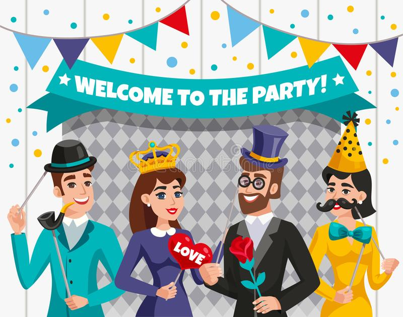 Carnival Photo Booth Party People Composition royalty free illustration