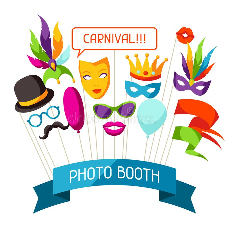Carnival photo booth props. Accessories for festival and party stock illustration
