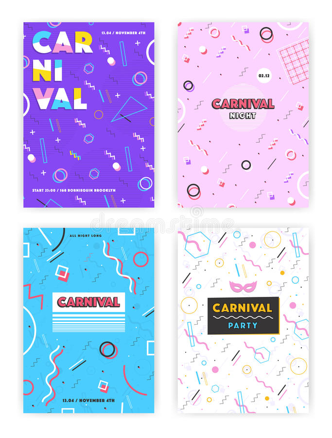 Carnival poster set. abstract memphis 80s, 90s style retro background collection with place for text. royalty free illustration