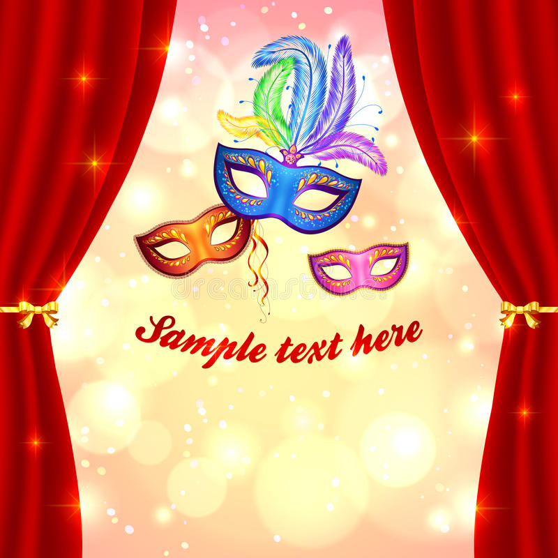 Carnival poster template with masks and curtain royalty free illustration