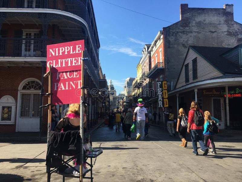 Mardi Gras New Orleans 2018 Bourbon Street royalty free stock image