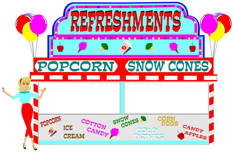 Carnival refreshment stand royalty free illustration