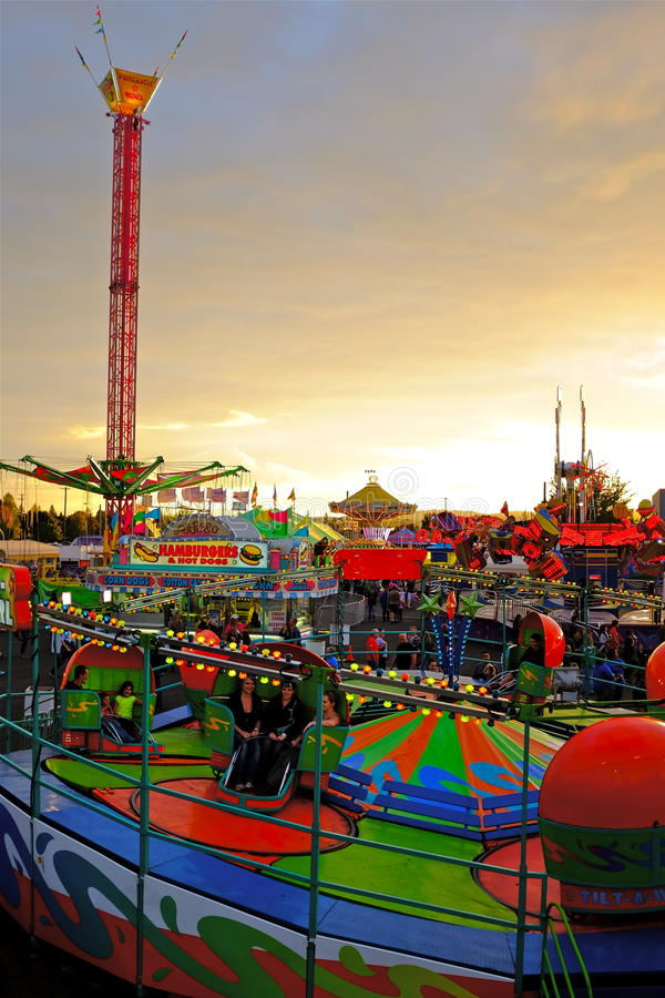 Carnival Ride at Dusk royalty free stock photography