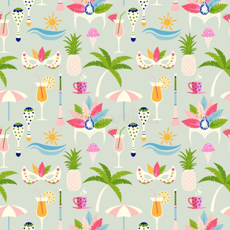 Carnival in Rio de Janeiro seamless pattern design stock illustration