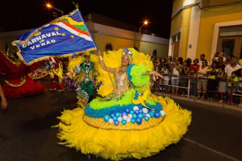 Carnival of summer in Mindelo, Cape Verde. Carnival of summer in Mindelo, August 08, 2017 in Cape Verde, Sao Vicente, Mindelo royalty free stock image