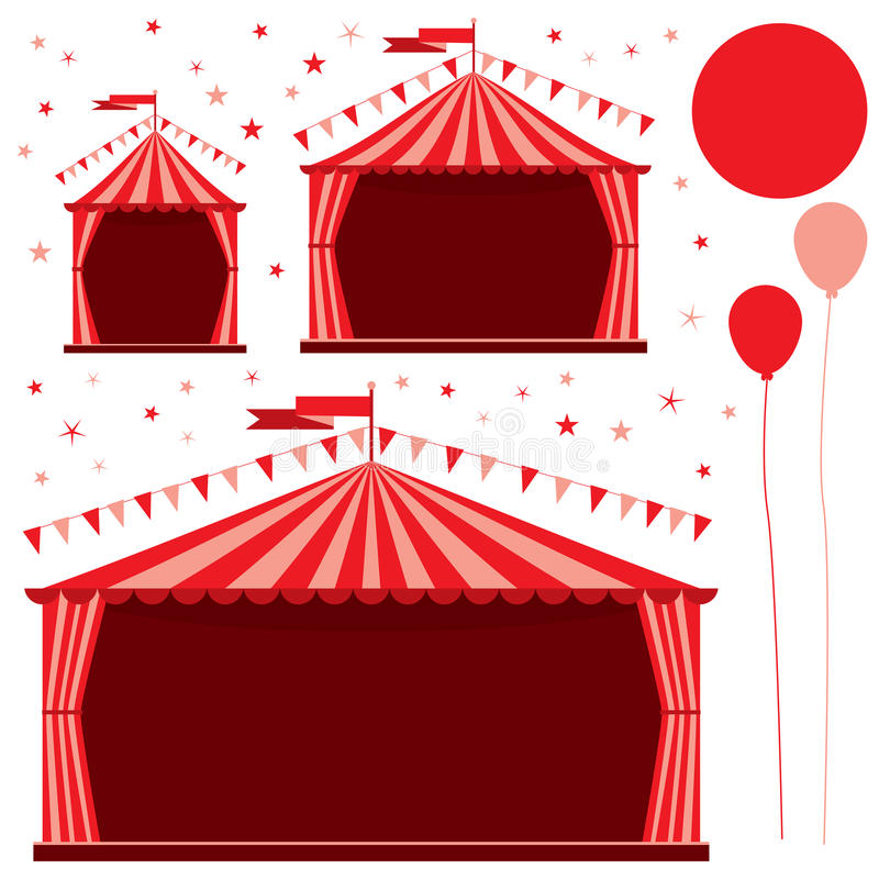 Carnival tent circus red set vector illustration