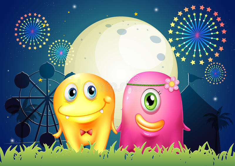 Download A Carnival With Two Monster Couple Stock Vector - Image: 34133916