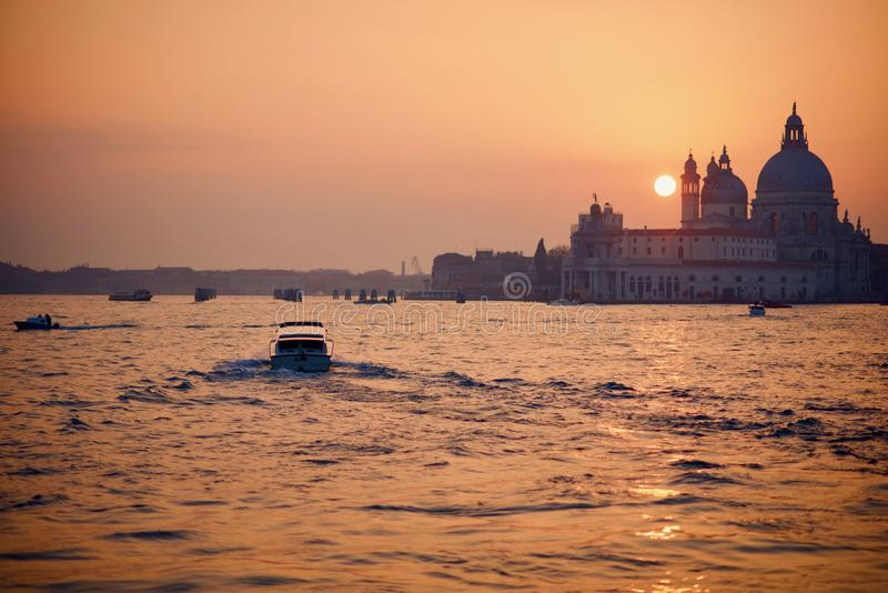 Winter sunset during carnival opening weekend in Venice royalty free stock image