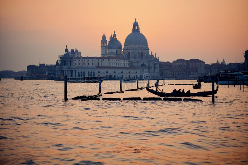 Winter sunset during carnival opening weekend in Venice royalty free stock photo
