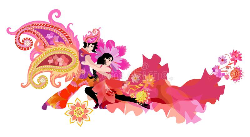 Carnival. Young man with wings in shape of paisley and woman in red dress, decorated beautiful flowers, dancing tango. royalty free illustration