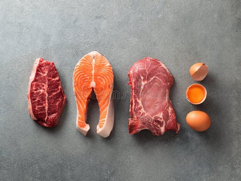 Carnivoor of keto dieet, nul of laag carburatorconcept, hoogste mening stock afbeelding