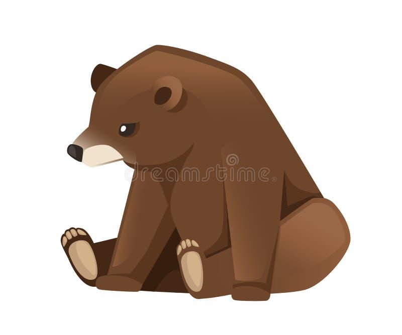 逗人喜爱的棕熊 Carnivoran哺乳动物,家庭熊 r 在白色背景隔绝的平的例证 库存例证
