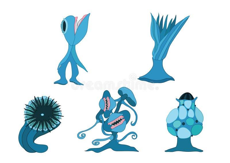 Carnivore planten ontwerpen blauw op witte achtergrondillustratie royalty-vrije illustratie