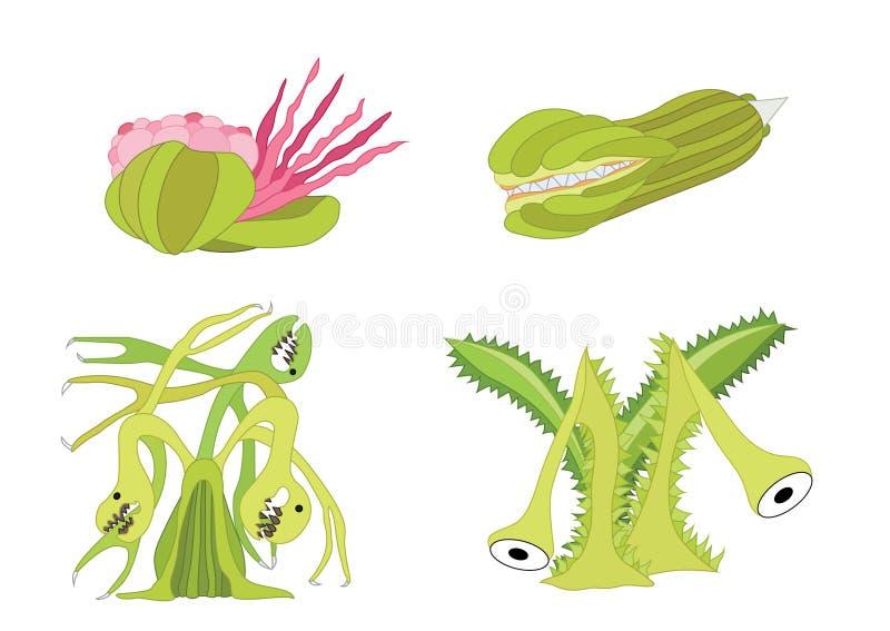 Carnivore planten ontwerpen groen op witte achtergrondillustratie royalty-vrije illustratie