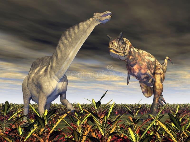 Carnotaurus atakuje Amargasaurus ilustracji