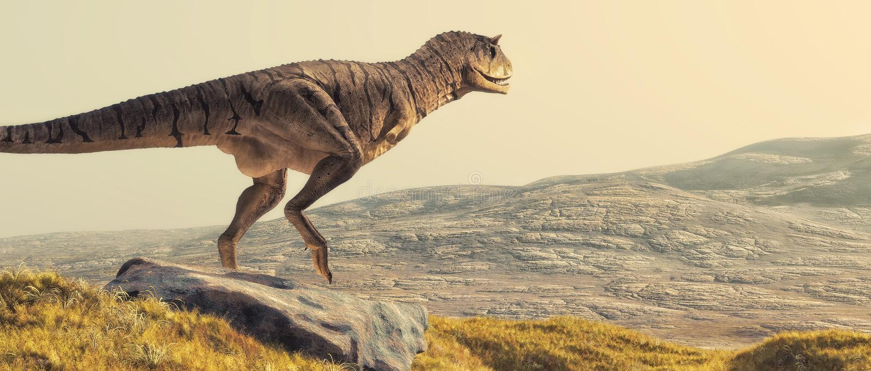 Carnotaurus en campo stock de ilustración