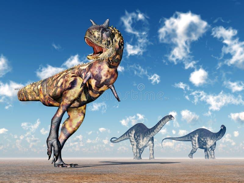 Carnotaurus et Apatosaurus illustration de vecteur