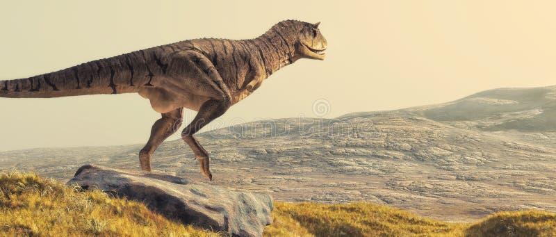 Carnotaurus on field stock illustration